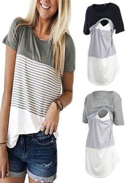 Women Maternity Breastfeeding Tee Nursing Tops Striped Short Sleeve T-shirt