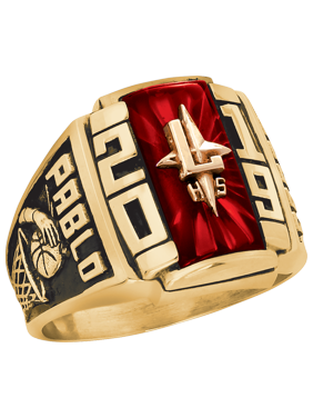 Personalized Men's Crest Class Ring available ináValadium, Two-Tone, Yellow and White Gold
