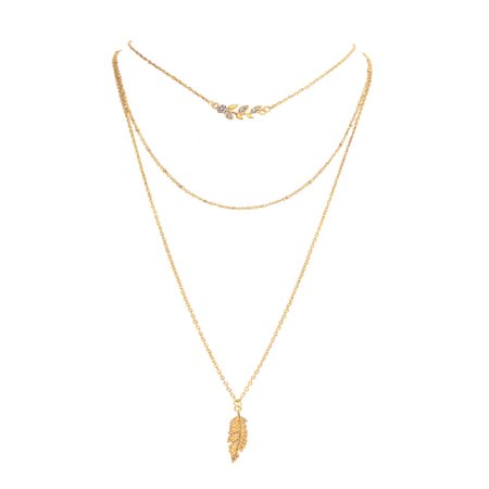 - Gold Layered Chain Necklace for Women Leaf Fashion Pendant Necklace Triple Strand Statement Necklace Womens Jewelry
