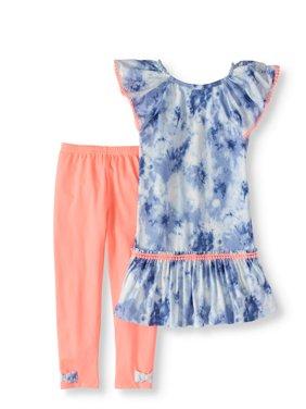 Girls' Tie-Dye Pom Pom Tunic and Capri Legging 2-Piece Set