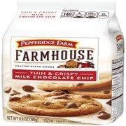 (2 Pack) Pepperidge Farm Farmhouse Thin & Crispy Milk Chocolate Chip Cookies, 6.9 oz. Bag