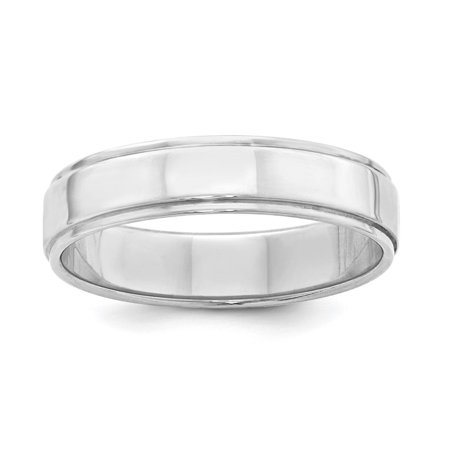 925 Sterling Silver 5mm Flat w/ Step Edge Polished Wedding Band Ring Sz - 5mm Flat Band Ring