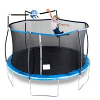 Bounce Pro 14-Foot Trampoline, with Slama Jama Basketball, Blue