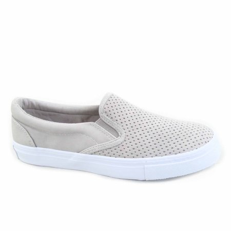 Tracer-S Women's Causal Slip On Elastic Round Toe Perforated Athletic Flat Heel Sneaker -