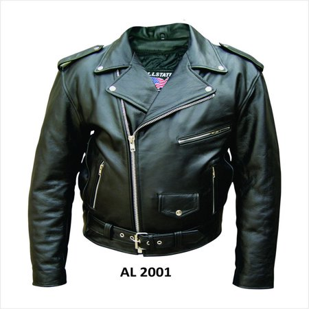 Men'S 32 Size Traditional Motorcycle Cowhide Black Leather pebble textured Belted Biker Jacket With Silver (Black Leather Biker Racer Jacket)