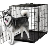 """Paws & Pals 48"""" Heavy Duty Foldable Double Door Dog Crate with Divider and Removable ABS Plastic Tray, 48"""" x 29"""" x 32"""""""