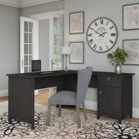 Bush Furniture Salinas L Shaped Desk with Storage in Vintage Black