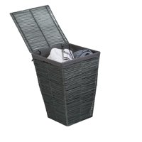 Honey-can-do Coastal Collection Laundry Hamper with Lid, Cool Gray