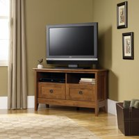 """Sauder August Hill Corner Entertainment Stand for TVs up to 40"""", Oiled Oak Finish"""