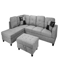 Raphael Sectional Sofa Left Facing with Ottoman, Multiple Colors