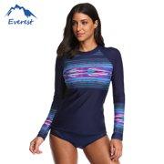 471572c6b2aef Women's Long Sleeve Rashguard Sun Protection Shirt Banded Crewneck Swimwear  Perfect for Surfing, Swimming