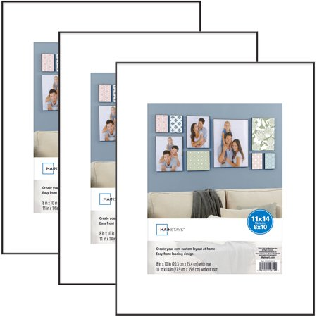 Mainstays 11x14 Matted To 8x10 Format Picture Frame Black Set Of 3
