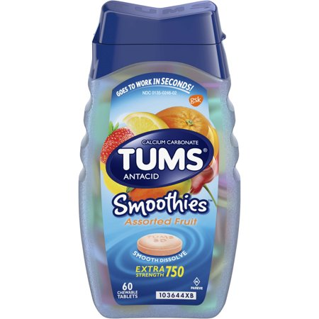 (2 Pack) Tums smoothies assorted fruit extra strength antacid chewable tablets for heartburn relief, 60 table