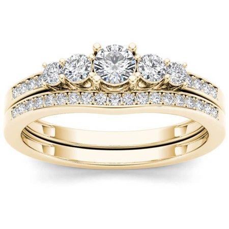 - 1/2 Carat T.W. Diamond Classic 14kt Yellow Gold Engagement Ring Set