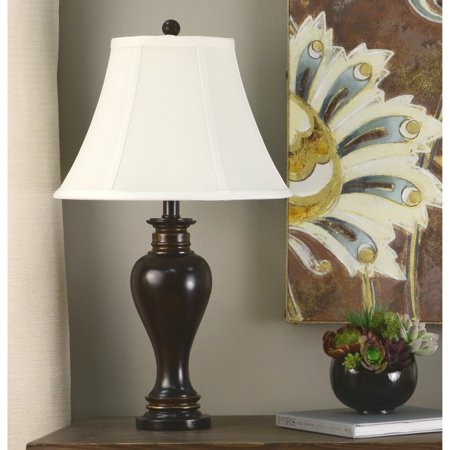Decor Therapy Walnut Ridge Bronze Resin Table Lamp with Barclay Gold Highlights and Soft Cream Silken Shade