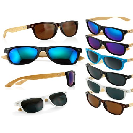 Blue Eyewear (Fashion Vintage Wood Wooden Frame Mens Womens Glass Bamboo Sunglasses)
