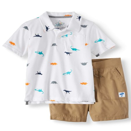 365 Kids from Garanimals Polo Shirt & Woven Shorts, 2-Piece Outfit Set (Little Boys & Big - Kids 70s Outfits