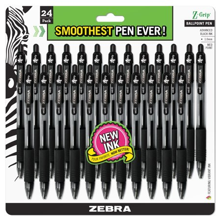 - Zebra Z-Grip Retractable Ballpoint Pen, Medium Point 1.0mm, Black Ink, Clear Barrel, 24-Count