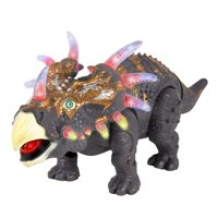 Best Choice Products Walking Dinosaur Triceratops Toy Figure with Many Lights & Sounds, Real Movement