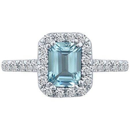 1.82 tcw Emerald Cut Aquamarine & Natural Diamond Halo Ring 14k White (Natural Aquamarine Emerald)
