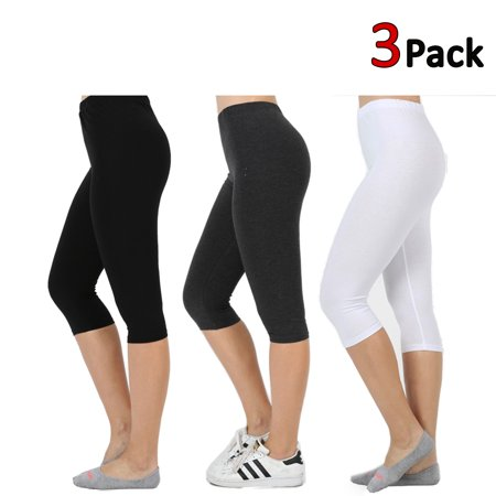 Puma Stretch Leggings - KOGMO Womens Premium Cotton Comfortable Stretch Capri Leggings 15in Inseam 3-Pack
