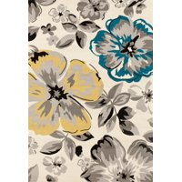 World Rug Gallery Modern floral circles cream area rug or runner