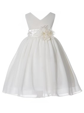 Ekidsbridal Formal V-Neck Yoryu Chiffon Flower Girl Dress Bridesmaid Wedding Pageant Toddler Easter Holiday Spring Summer Recital Communion Birthday Baptism Special Occasions 503NF