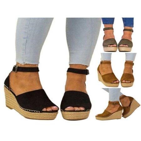 Meigar Women's Casual Shoes Espadrille W e d g e Sandals Platform High Heels Ankle