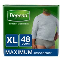 Depend FIT-FLEX Incontinence Underwear for Men, Maximum Absorbency, XL, 48 Ct