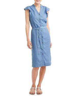 Women's Flutter Sleeve Midi Shirt Dress