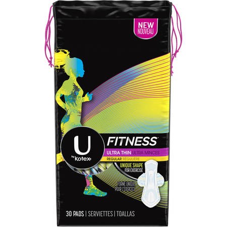 U by Kotex Fitness Ultra Thin Pads with Wings, Regular Absorbency, Unscented, 30 (Kotex Pads Ultra Thin With Wings)