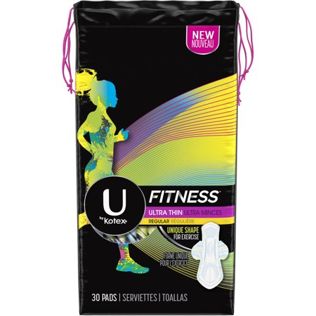 U by Kotex Fitness Ultra Thin Pads with Wings, Regular Absorbency, Unscented, 30 Ct