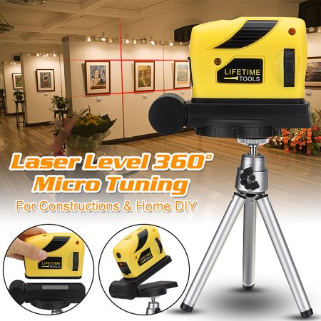 360° Rotary 4 In 1 Multifunction Laser Level Self-Levelling 2 Cross Line Infrared Vertical Horizontal Measure Tool Micro Tuning Professional Automatic for Home Improvement Projects