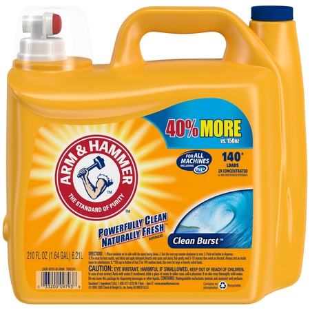 - Arm & Hammer Clean Burst Liquid Laundry Detergent HE, Clean Burst, 210 fl oz