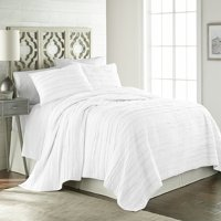 Chezmoi Collection Katy 3-Piece Frayed Edge Solid Reversible 100% Cotton Quilt Set