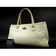 ebfeed8b564a Chanel Ivory Reissue Cc Caviar Cerf Executive 216076 White Tote Bag
