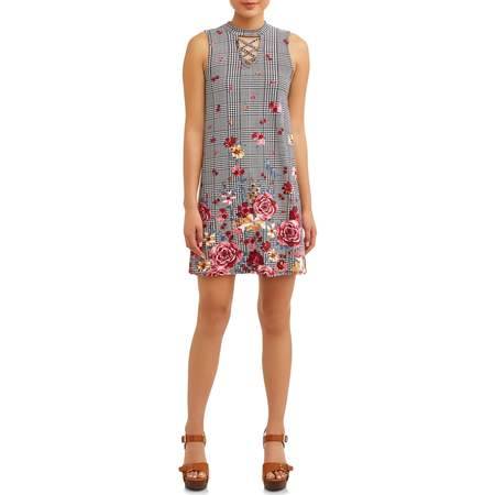 No Boundaries Juniors' Yummy Swing Dress With Caging