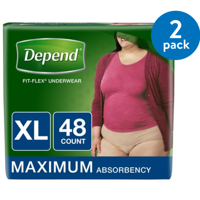 Depend FIT-FLEX Incontinence Underwear for Women, Maximum Absorbency, XL, 2 Packs of 48