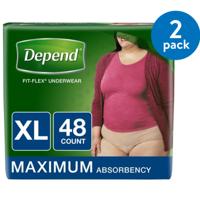 Depend FIT-FLEX Incontinence Underwear for Women, Maximum Absorbency, XL, 2 Packs of 48