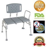 Healthline Transfer Bench Adjustable Height, Heavy Duty Bariatric Tub Transfer Bench with Back, Non-slip Seat, Bath and Shower Bench Chair, Disabled, 500 lbs Capacity, Gray