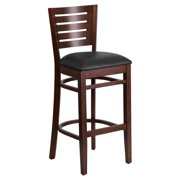 Flash Furniture Darby Series Slat Back Walnut Wooden Restaurant Barstool, Vinyl Seat, Multiple Colors