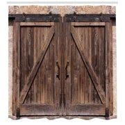 Rustic Shower Curtain Wooden Barn Door In Stone Farmhouse Image Vintage Desgin Rural Art Architecture