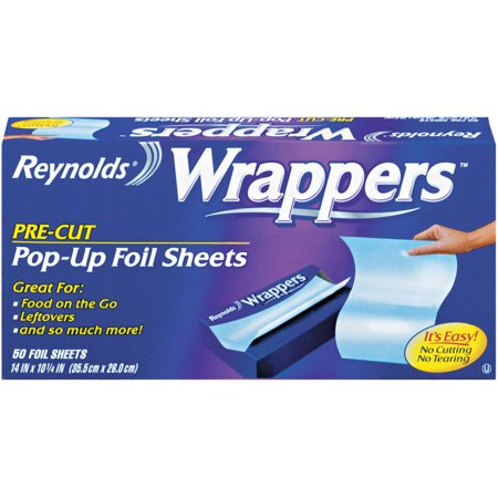 (2 pack) Reynolds Wrappers Pre-Cut Pop-Up Foil Sheets, 12 x 10.75 inches, 50 Sheets