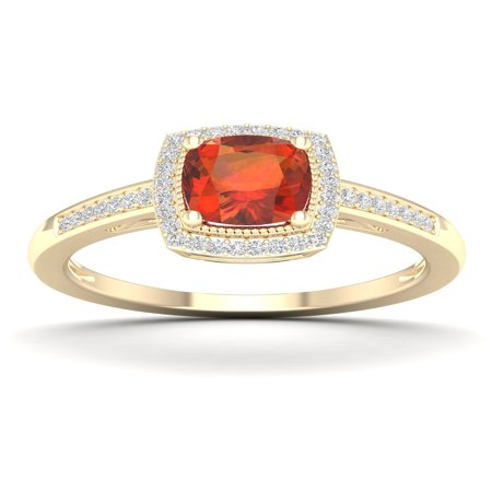 Imperial Gems 10K Yellow Gold Madeira Citrine 1/8 CT TW Diamond Halo (Imperial Green Gem)