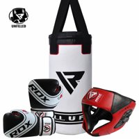 RDX Boxing Headgear Junior Punching Bag Youth Gloves Kids Training Kit Bundle