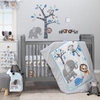 Bedtime Originals Jungle Fun 3-Piece Crib Bedding Set - Blue, Gray, White