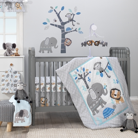 Bedtime Originals Jungle Fun 3-Piece Crib Bedding Set - Blue, Gray,