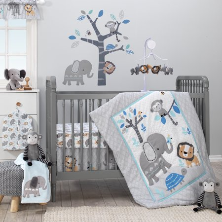 Bedtime Originals Jungle Fun 3-Piece Crib Bedding Set - Blue, Gray, White](Panda Bear Baby Bedding)