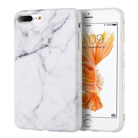 iPhone 8 Plus Case, iPhone 7 Plus Case, by Insten Marble Rubber TPU Case Cover For Apple iPhone 7 Plus/8
