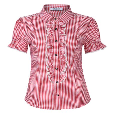 Traditional Square Top - Women's Shirt for Lederhose, Traditional Bavarian Shirt, Oktoberfest Outfit